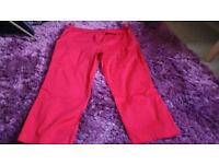 Womens M&CO Red Crop Trousers