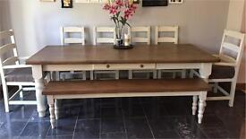 10 Seater solid wooden table, chairs and bench