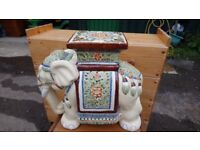 Elephant ceramic plant stand v good condition H 45 cm