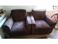 2 x brown cord arm chairs