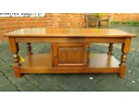 OLD CHARM SOLID OAK LINENFOLD LONG TWO TIER COFFEE TABLE, WIDESCREEN TV STAND