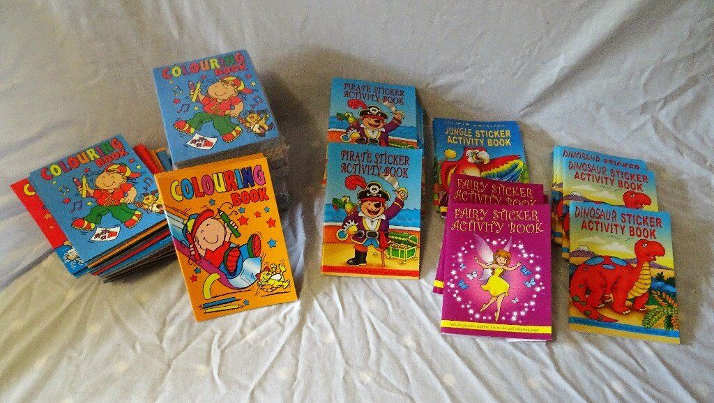 Job lot of Approx 132 children's colouring and Sticker Books for bazars, Father Christmas etc