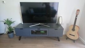 TV Media Unit, Dark Stained Oak and Grey - near perfect condition