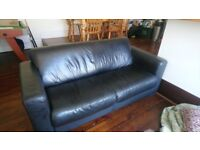Black Leather 2 Seater Sofa delivery £25 collection £0