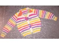 Hand knitted striped cardigan