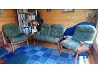 Wood framed 2 seater sofa and 2 chairs