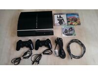 PlayStation 3 80GB FW 4.8, 3 Games and 2 Dual Shock 3 Controllers + HDMI, Charge and Power Leads!