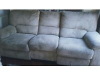Cream 3 seater recliner plus a recliner chair.
