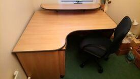 Office Desk with Filling Cabinet+Shelf & Swivel Chair