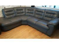 Grey leather corner sofa