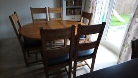 SOLD - Solid oak dining table extendable with 6 chairs