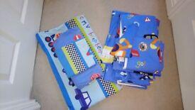 Beep beep car themed eyelet curtains &matching toddler bedding