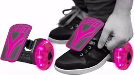 Neon Light up Street Rollers - Pink - Light up Clip on Skates - Adjustable Size - 6 years +