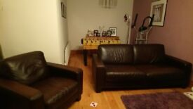 Brown Leather Sofa and Chair for Sale
