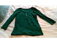 Boden green scoop neck long-sleeved top size UK 6