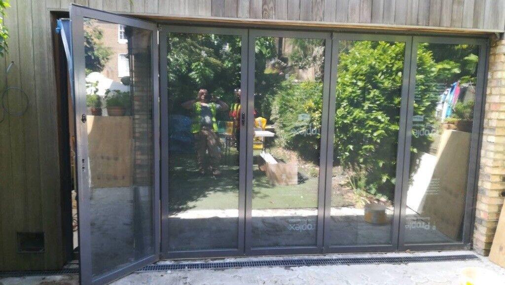 Aluminium 5 Panel Glazed Bifold Patio Door Perfect Condition In