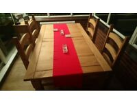 Dining table and 4 chairs (solid pine)