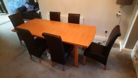 Oak dining table 6 leather chairs