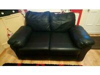 Leather black settee