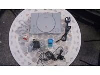 Sony PlayStation 1 with controller and memory card