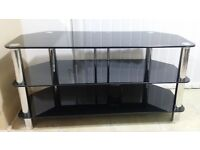 Black Glass Tv Stand , In Excellent Condition like brand new without scratches , 1.3 M Width