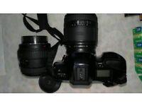 MINOLTA dynax spxi camera 2 big lenses and bits