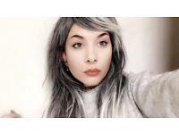 Ombré grey silver long wig