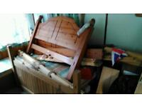 2 wooden double beds
