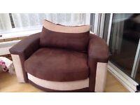 Fabric Swivel Arm Chair