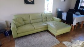 DFS Arene leather 3 seater sofa and swivel love chair in Pistachio. Perfect condition 100 ono