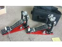 Double pedal, bag, drum stand, drum
