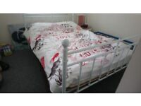 White double bed genuine reason for sale .