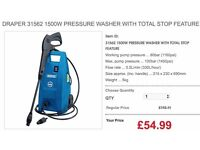 DRAPER 31562 1500W PRESSURE WASHER WITH TOTAL STOP FEATURE