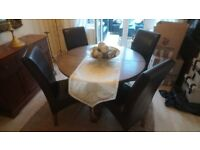 Old Charm Oak Extendable Table & Willis - Gambler Chairs