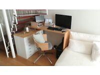 solid wood corner desk with storage