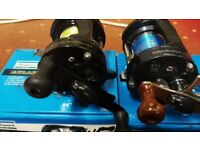2 SHAKESPEARE multiplier fishing reels with level winds targa +atlantis