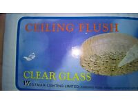 LIGHT FITTING . FLUSH CELLING CLEAR GLASS