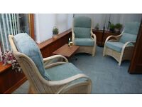 3 wicker chairs and cushions