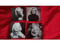 Set 4 Marilyn Monroe Glass Coasters ( Table Mats ), New in Gift Box