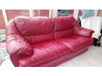 Red Leather Sofa-Free