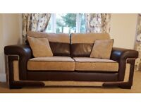 DELUXE Oatmeal Formal Back 4 Piece Sofa Suite (Brown Leather & Woven material) Sofa Bed included