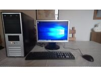 Very fast and reliable Windows 10 Computer with Monitor, keyboard, mouse, all cables