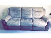 3 seater sofa, a chair & footstool/storage