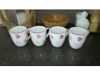 White mugs with pink hearts - £2 each