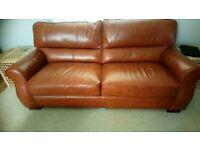 2 x Large Full leather sofas --like new