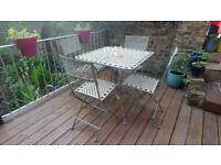 Metal 4 seater square table and chair set (folding)
