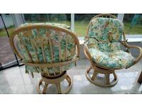 Wicker swivel chairs