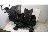 Graco double tandem buggy/stroller/pushchair. Rear lie flat, suspension, footmuffs, 1 hand fold