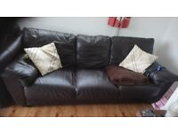 two FREE brown leather sofas