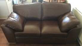 Next Sofa - brown tan leather - 2/3 seater - £1,525 RRP - 1 year old